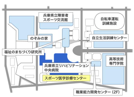 リハビリテーション中央病院施設内地図